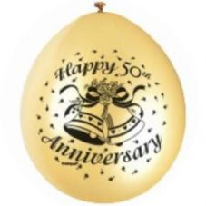 "10 'Happy 50th Anniversary' 9"" Gold Balloons"